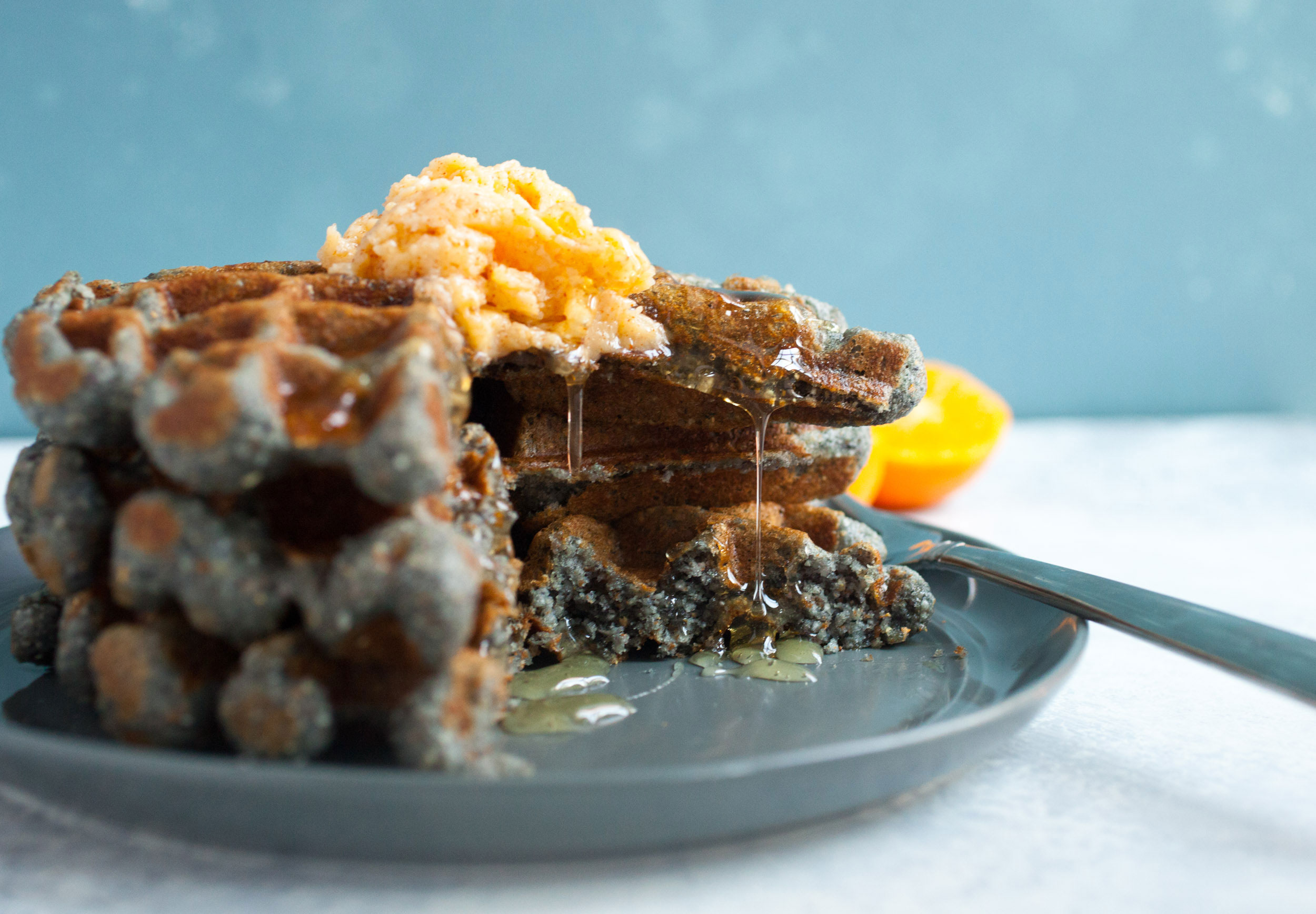 Macheesmo Blue Corn Honey Waffles Feature