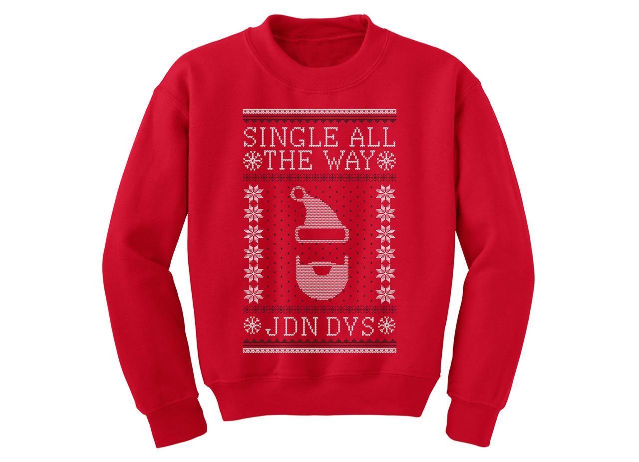 Jordandavis Single All The Way Ugly Christmas Sweater