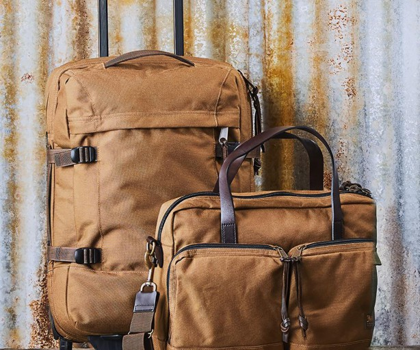 Filson Nylon Dryden Rolling 2 Wheel Carry On Bag Whiskey